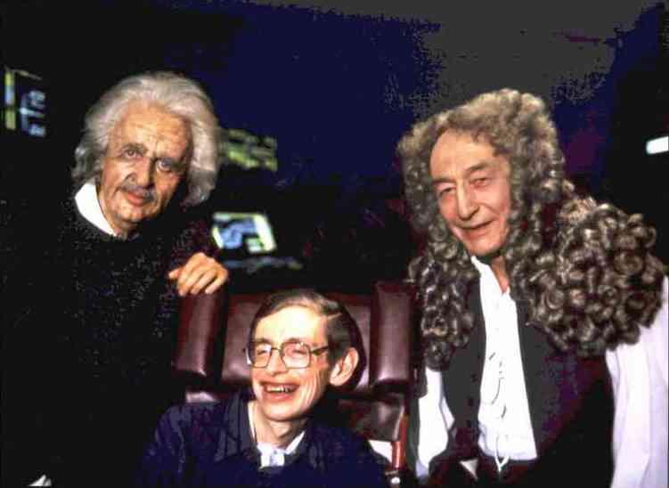 Stephen Hawking in Star Trek insieme a Einstein e Newton