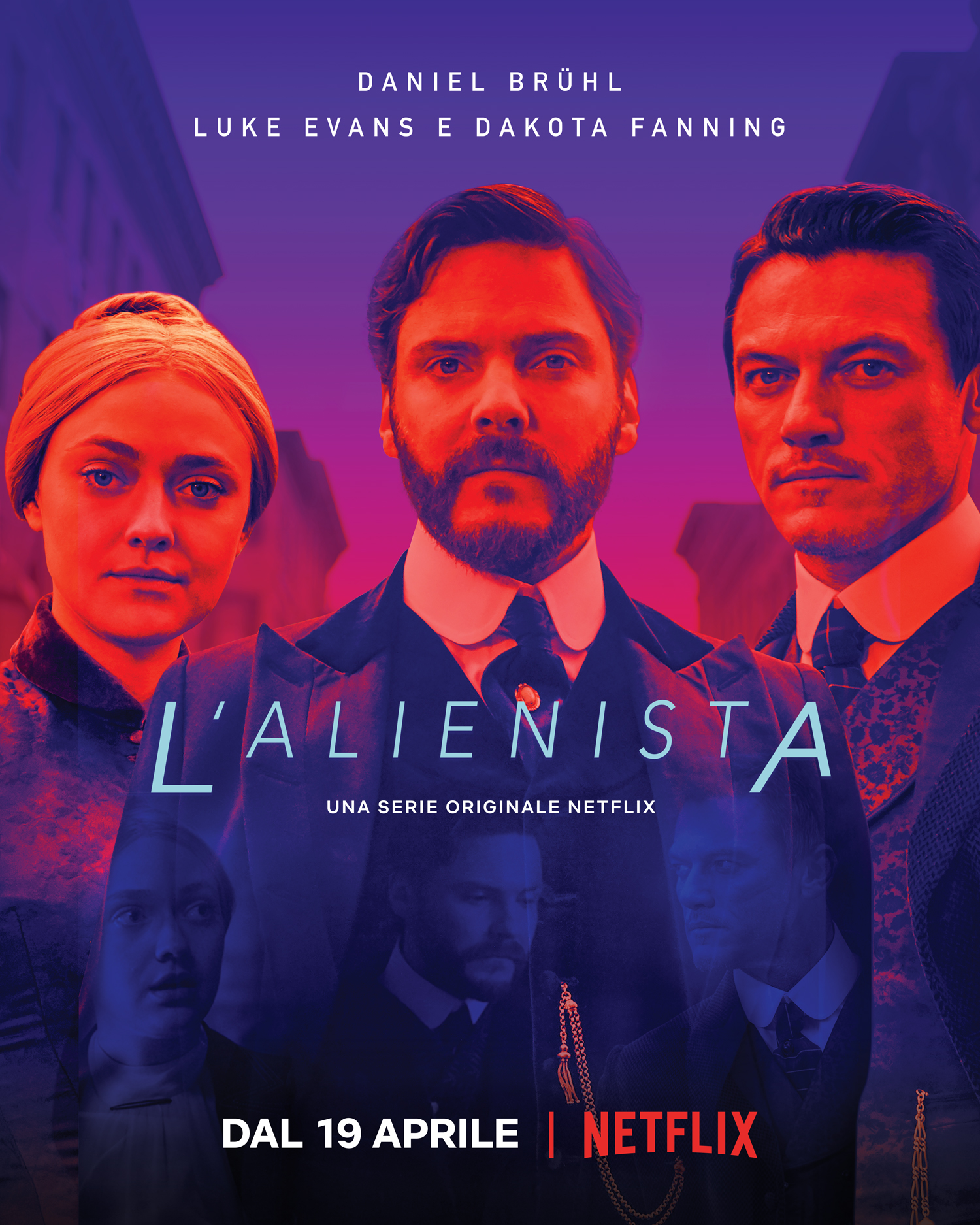 In L Alienista Luke Evans ¨ l illustratore John Moore mentre Dakota Fanning interpreta Sara Howard un ambiziosa segretaria determinata a diventare la