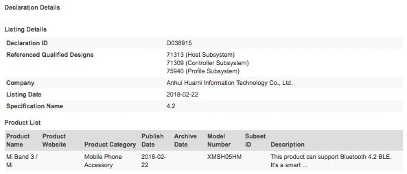Xiaomi Mi Band 3 certificazione bluetooth