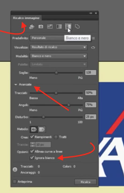 vettorializzare un logo, ignora bianco