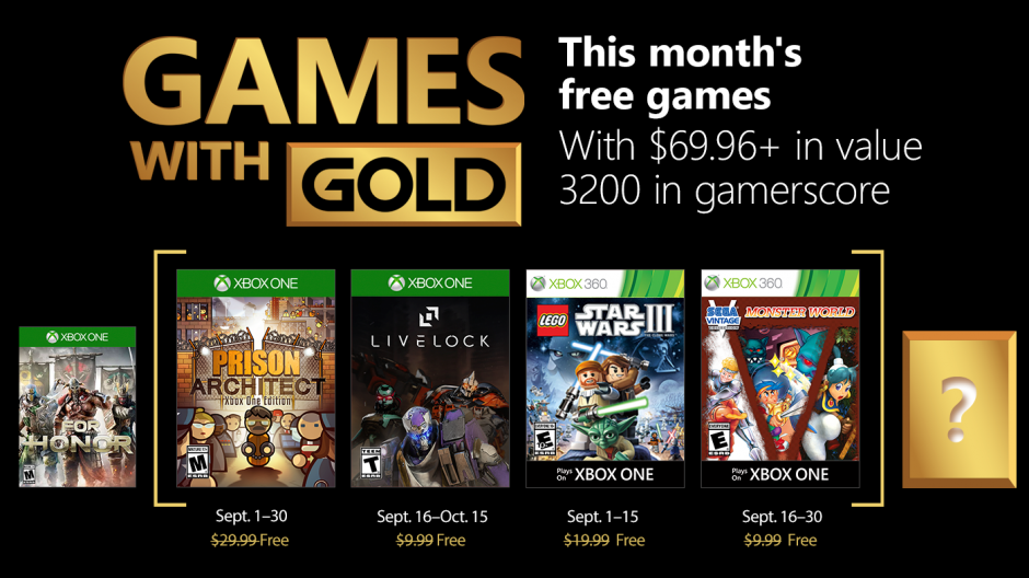 games with gold settembre 2018