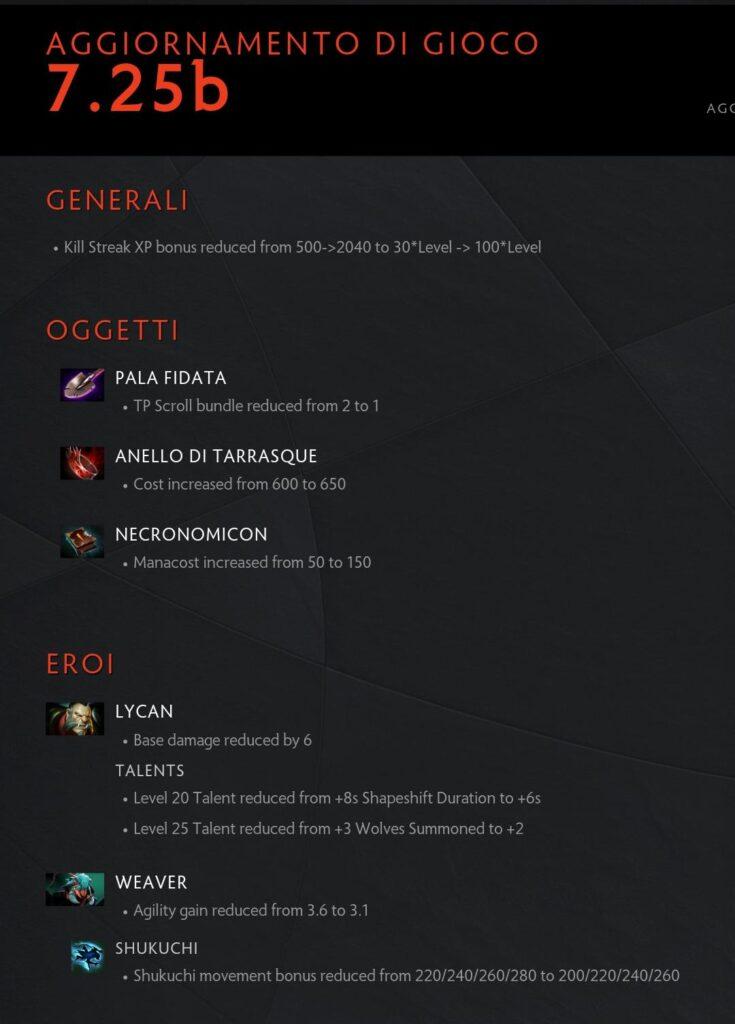 Il testo della patch 7.25b di Dota 2