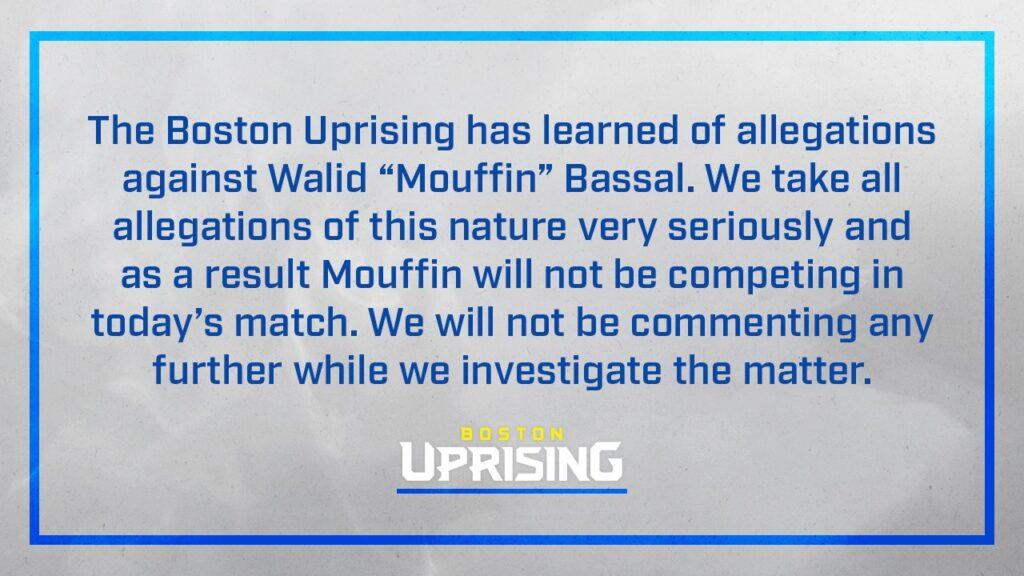La dichiarazione rilasciata su Twitter dai Boston Uprising riguardo la situazione di Mouffin