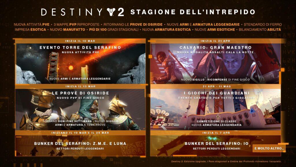la stagione dell'intrepido calendario destiny 2