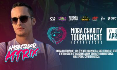 La locandina del MOBA Charity Tournament Hearthstone, con la presenza dell'ambassador Attrix