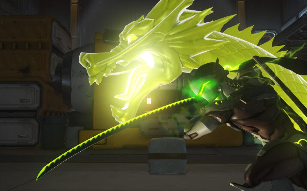 Genji, uno degli eroi più iconici di Overwatch, mentre sta per usare la sua ultimate Spada del Drago